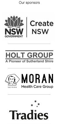 Hazelhurst sponsor list, Arts NSW, Holt Group, Moran Aged Care, Tradies