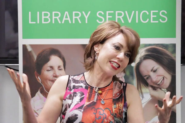 Kathy Lette speaking at Sutherland Library