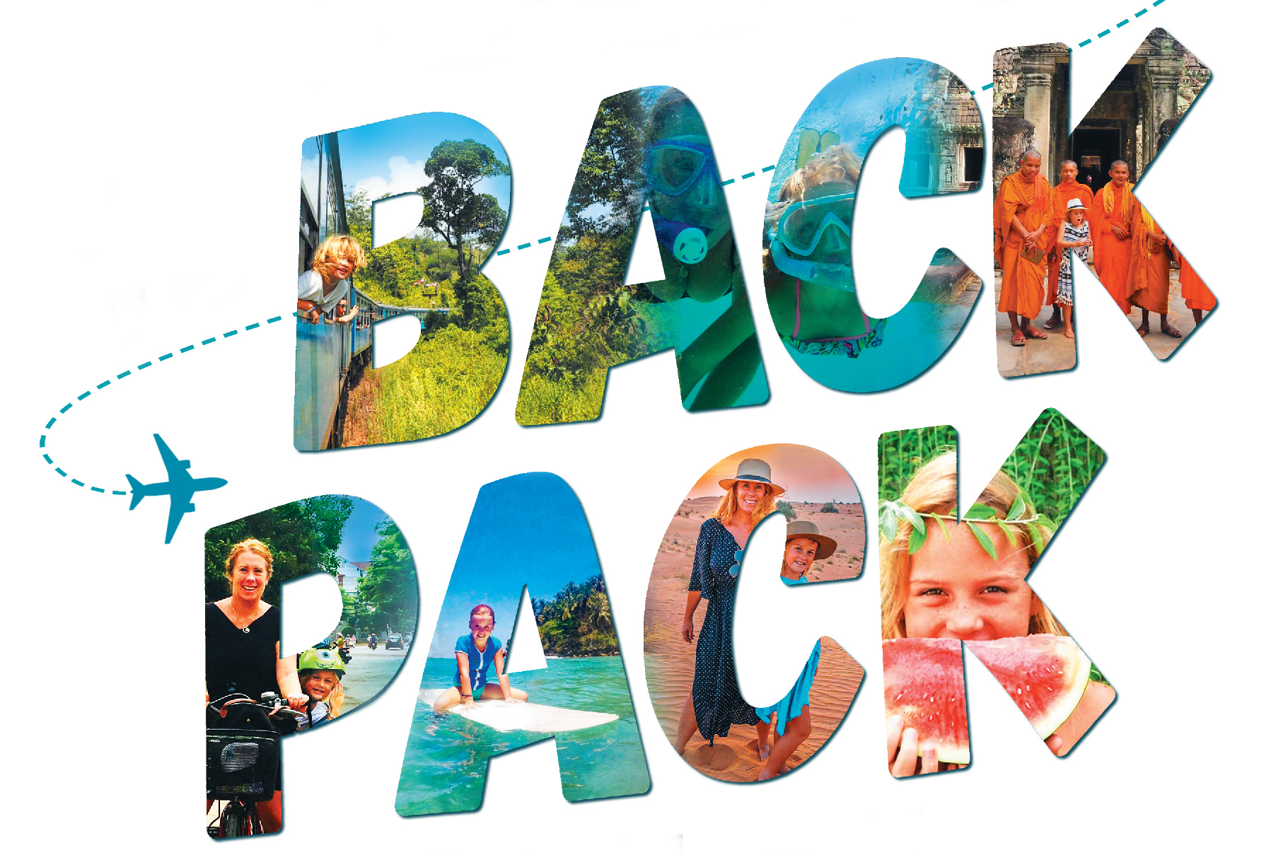 The word backpack with many images of travel detinations imposed on the lettering