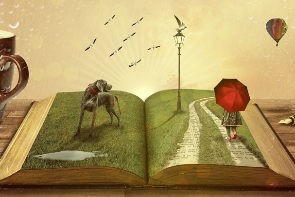 Illustration of a person holding an umbrella, a dog and lamppost on the open pages of a book.