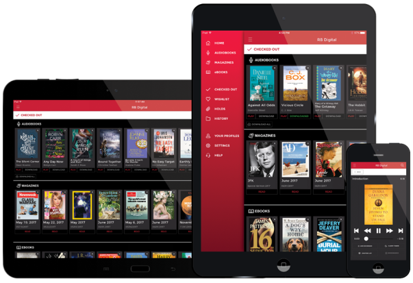 Zinio version of Rolling Stone magazine showing on phone, tablet, laptop and desktop computer