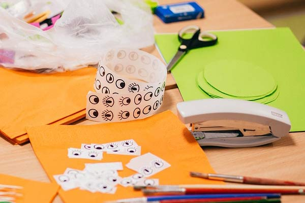 craft materials on a table