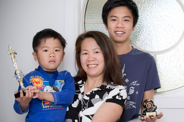asian family, mother and two sons