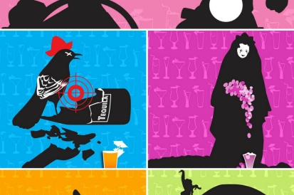 A black bird with a red hat in a smashed tequila bottle and a lady in a black cape with purple flowers