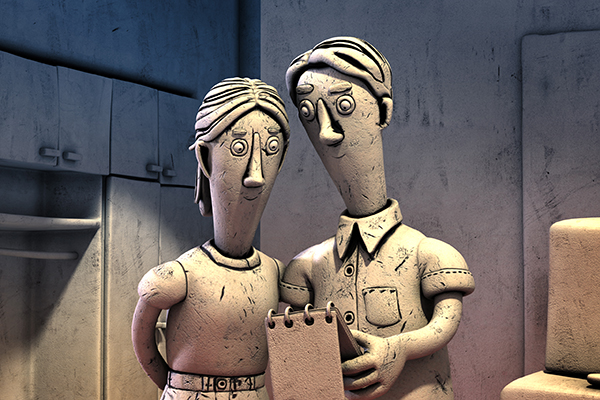 Claymation woman and man facing to camera with a notebook