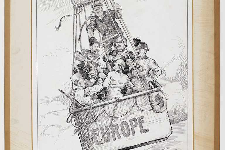 A sketch by Hal Eyre of WWI miltary leaders and politicians in a hot air balloon labelled