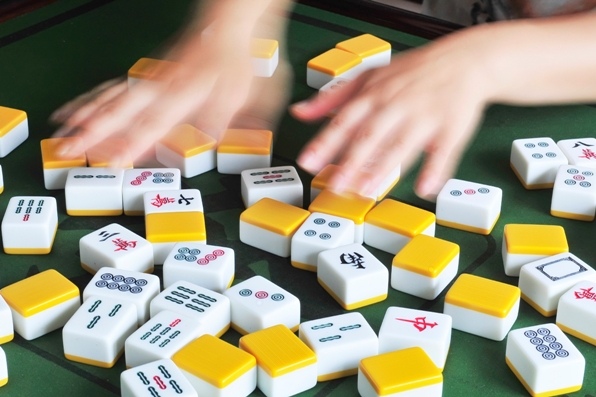 Mahjong tiles on a table