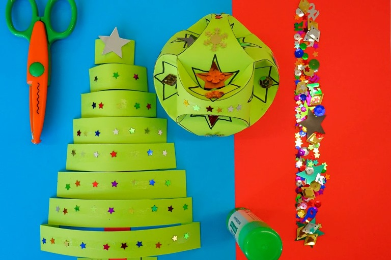 Colourful paper crafts and materials.