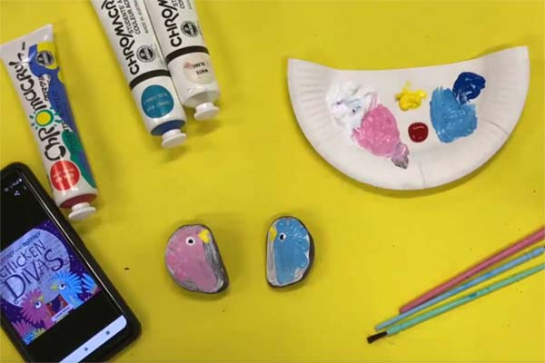 chicken divas rock painting craft