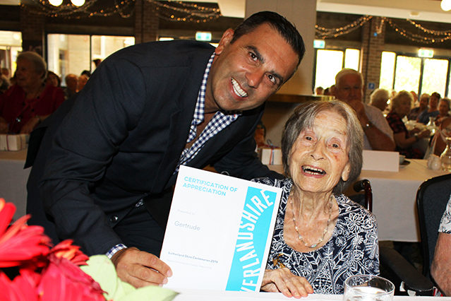 Mayor with Centenarian at Seniors Luncheon