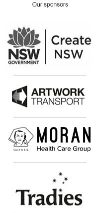 Hazelhurst sponsor list, Arts NSW, Artwork Transposrt, Moran Aged Care, Tradies