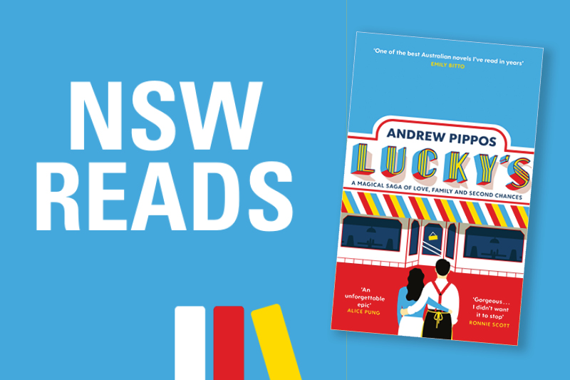 NSW Reads Logo on light blue background with book cover of
