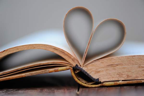 We love reading. open book with pages folded into a heart