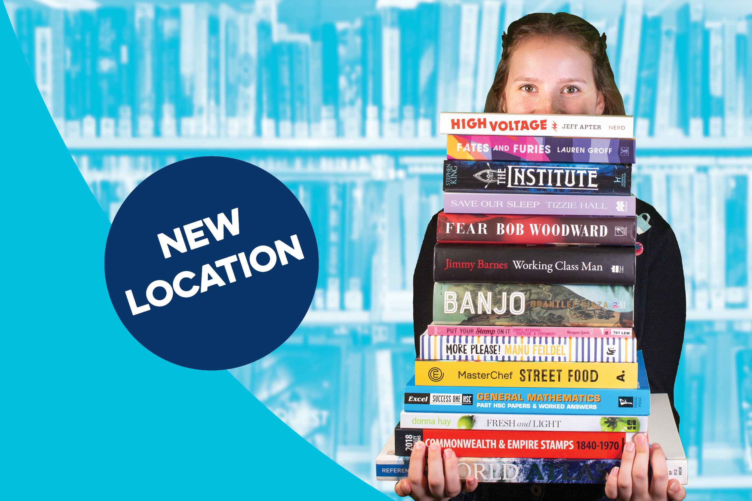 A person holding a tall stack of books peaking over the top on a blue dutone background and a pop-out circle reading `New Location`